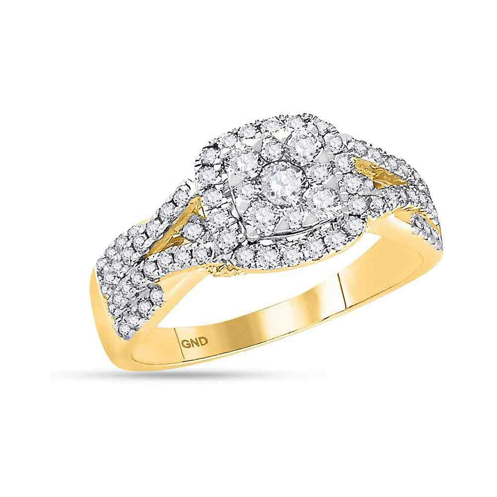 GND Engagement Bridal Ring 14kt Yellow Gold Round Diamond Square Cluster Bridal Wedding Engagement Ring 1 Cttw