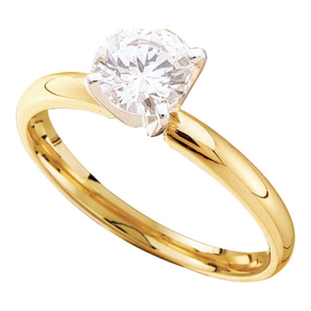 GND Engagement Bridal Ring 14kt Yellow Gold Womens Round Diamond Solitaire Bridal Wedding Engagement Ring 3/4 Cttw