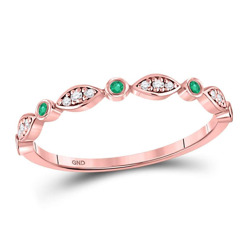 GND Gemstone Band 10kt Rose Gold Womens Round Emerald Diamond Marquise Dot Stackable Band Ring 1/8 Cttw