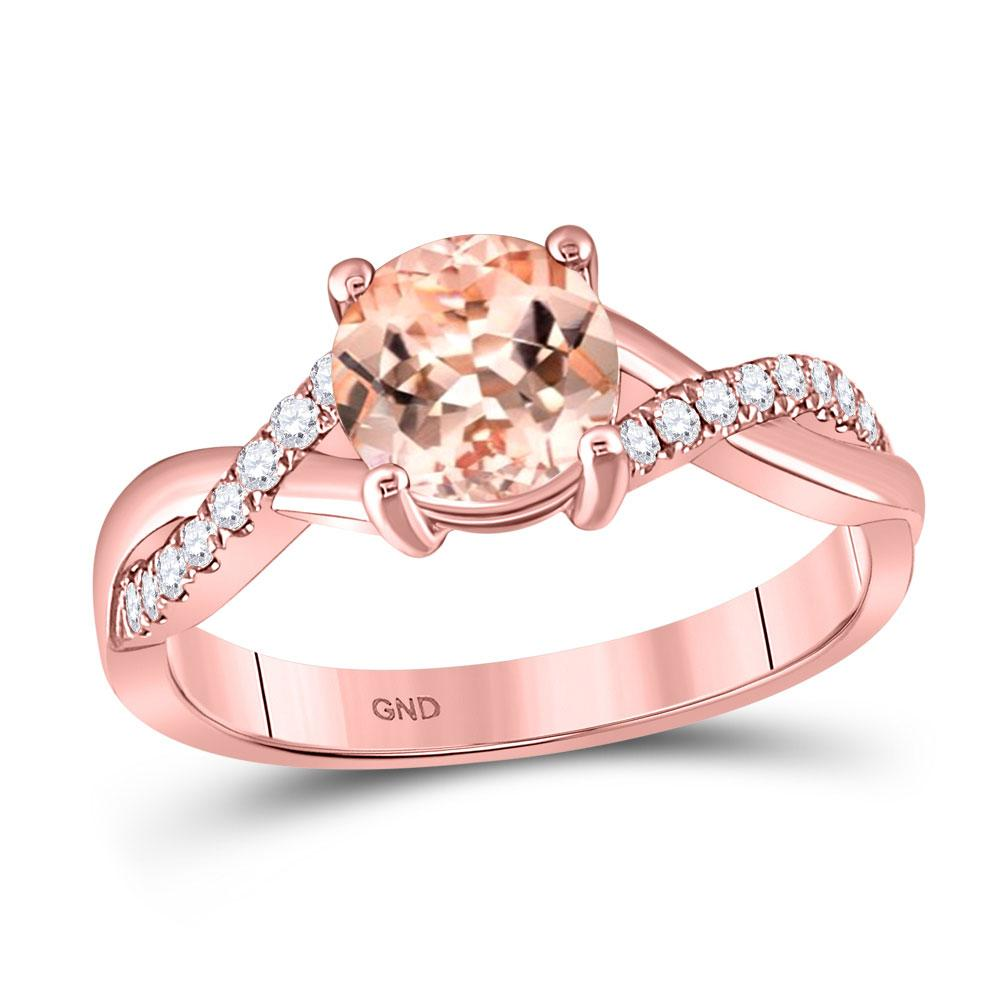 GND Gemstone Fashion Ring 10kt Rose Gold Womens Round Morganite Solitaire Ring 1-1/3 Cttw