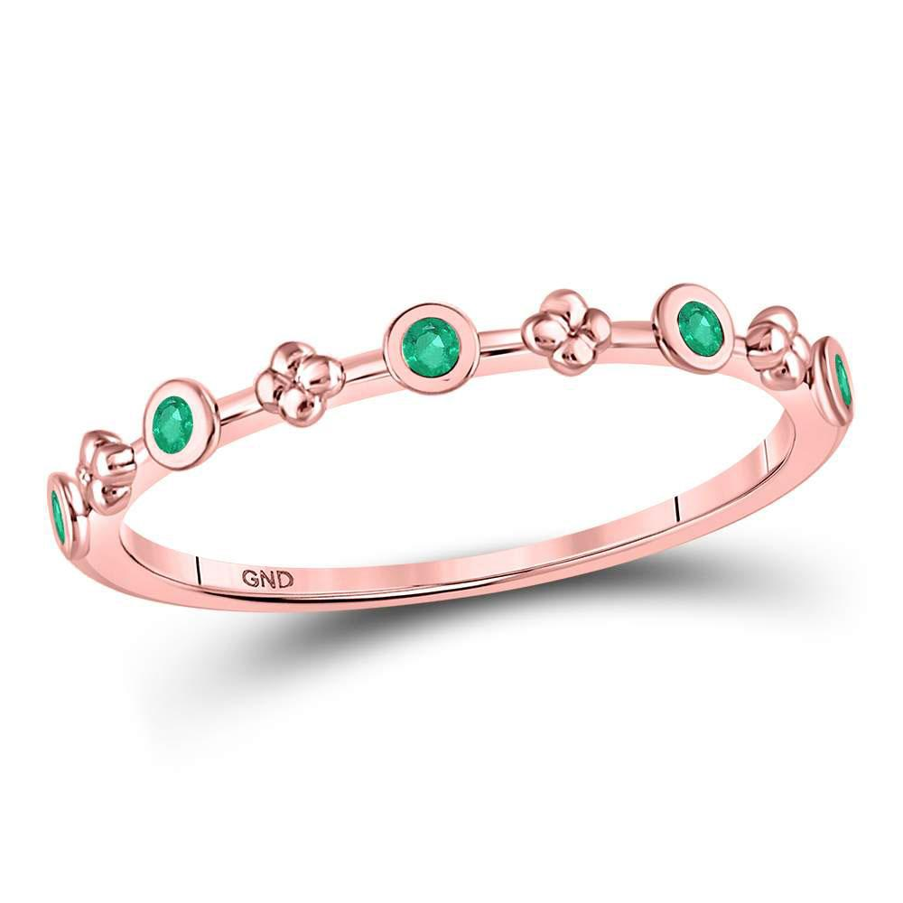 GND Gemstone Stackable Band 10kt Rose Gold Womens Round Emerald Dot Flower Stackable Band Ring 1/12 Cttw