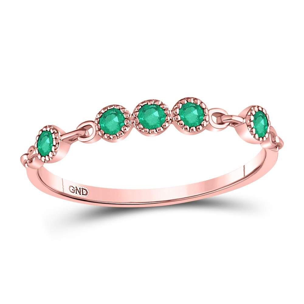 GND Gemstone Stackable Band 10kt Rose Gold Womens Round Emerald Dot Stackable Band Ring 1/20 Cttw