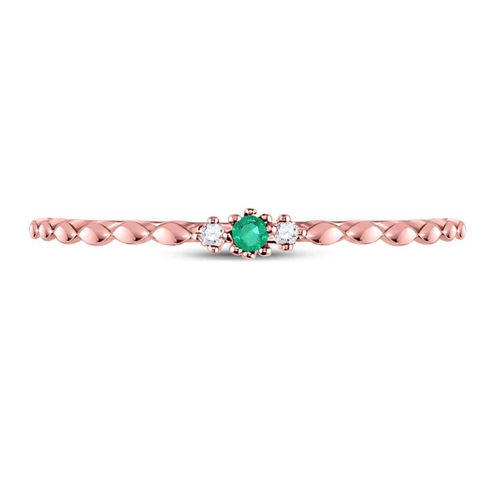 GND Gemstone Stackable Band 10kt Rose Gold Womens Round Emerald Solitaire Diamond-accent Stackable Ring .03 Cttw