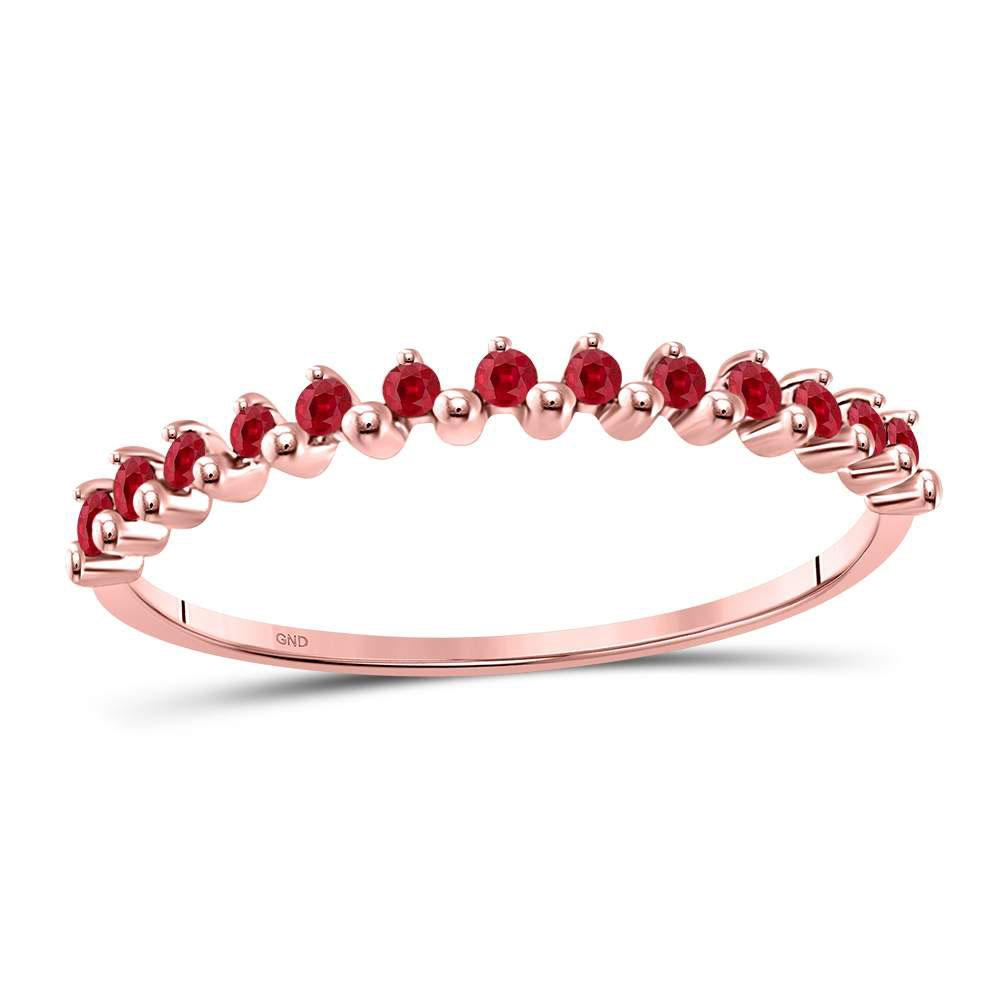 GND Gemstone Stackable Band 10kt Rose Gold Womens Round Ruby Single Row Stackable Ring 1/8 Cttw