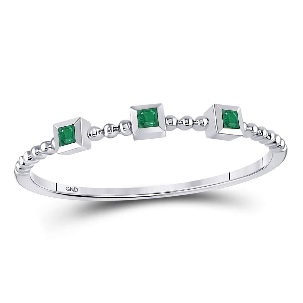 GND Gemstone Stackable Band 10kt White Gold Womens Princess Emerald Beaded 3-stone Stackable Band Ring .03 Cttw