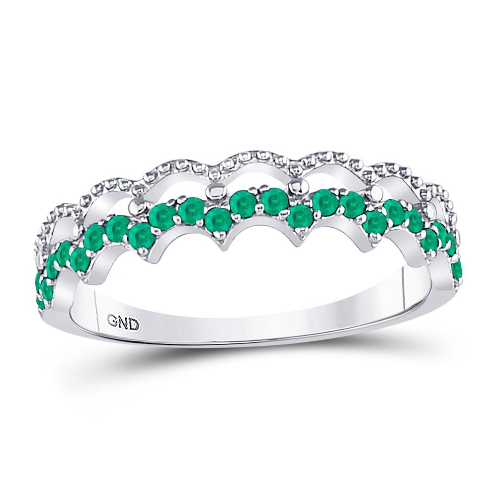 GND Gemstone Stackable Band 10kt White Gold Womens Round Emerald Scalloped Stackable Band Ring 1/4 Cttw