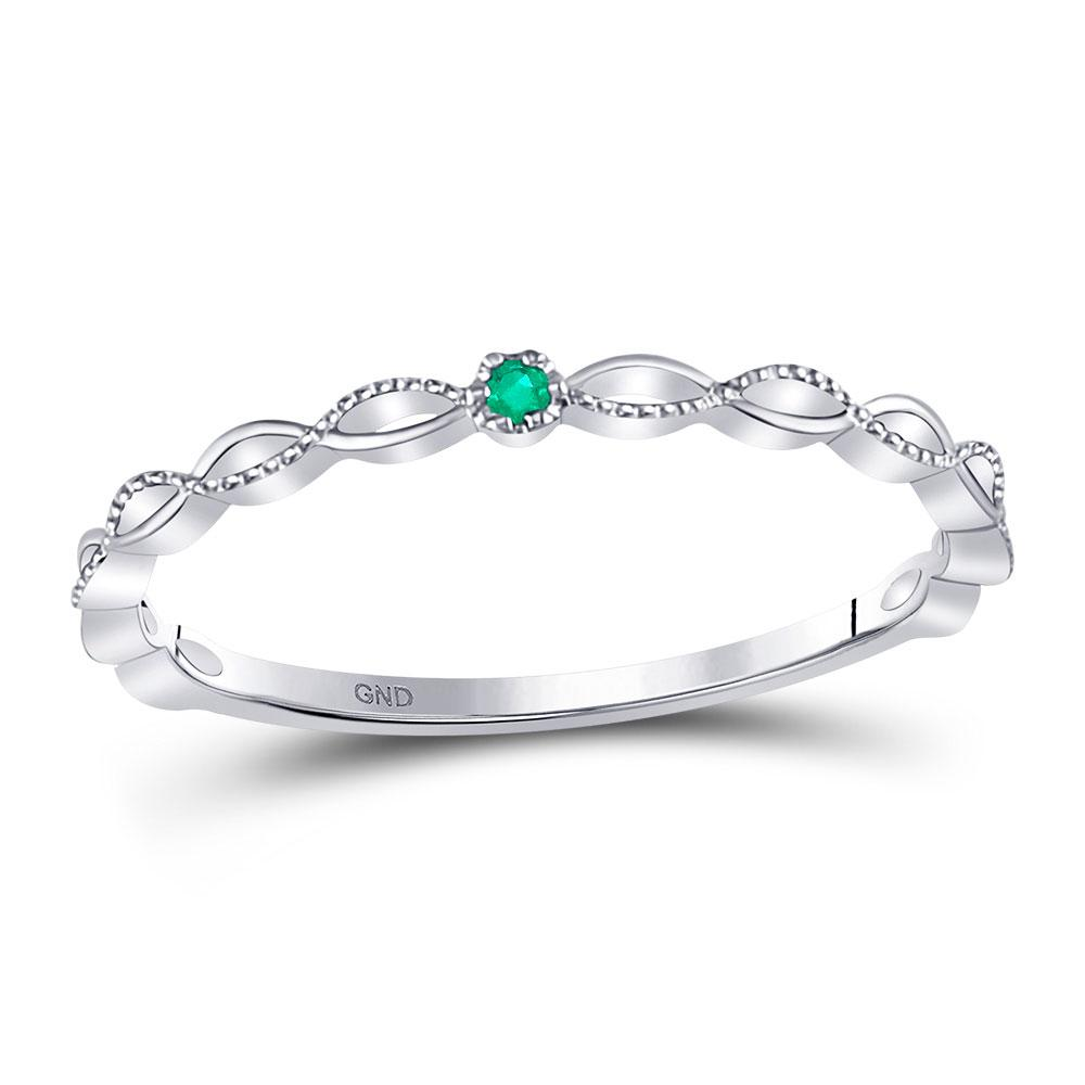 GND Gemstone Stackable Band 10kt White Gold Womens Round Emerald Solitaire Milgrain Stackable Band Ring .01 Cttw