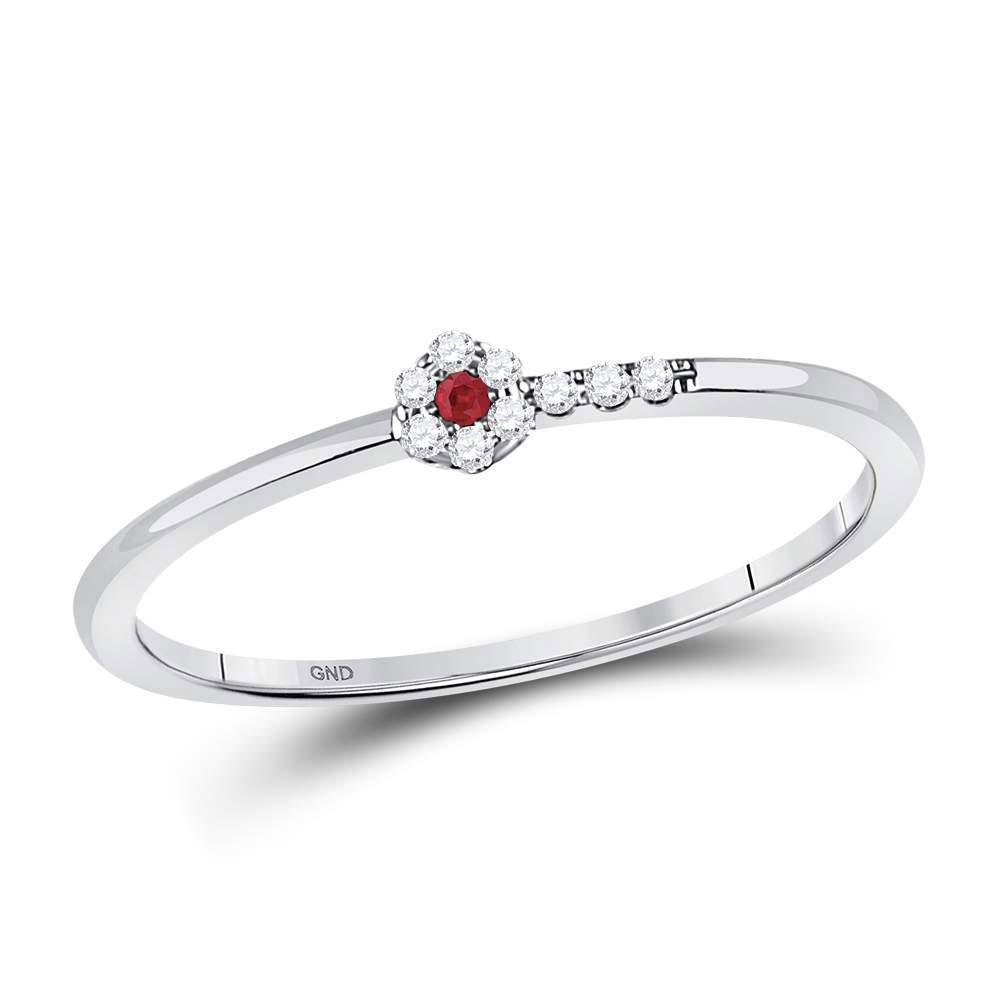 GND Gemstone Stackable Band 10kt White Gold Womens Round Ruby Diamond Stackable Band Ring 1/20 Cttw