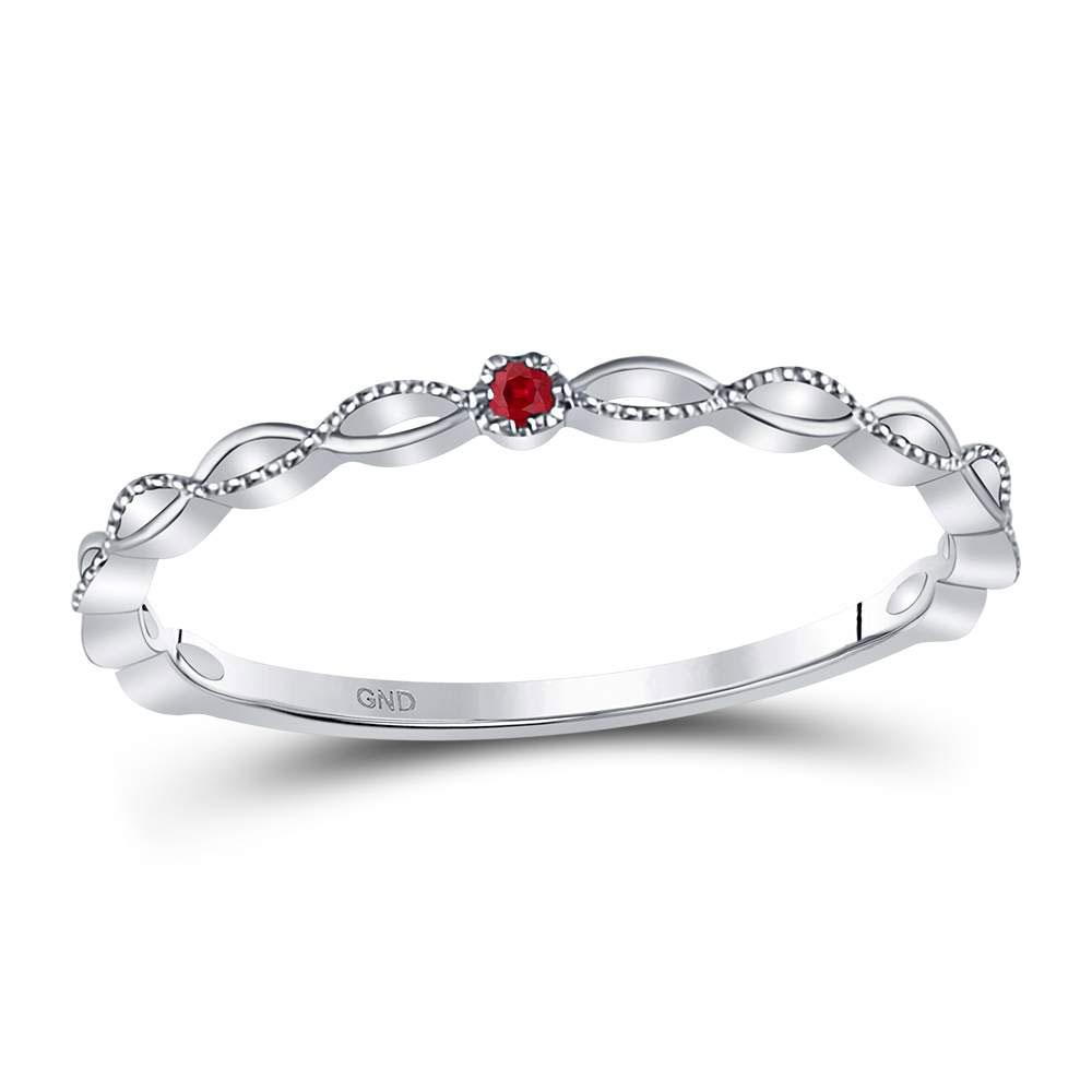 GND Gemstone Stackable Band 10kt White Gold Womens Round Ruby Solitaire Stackable Band Ring .01 Cttw