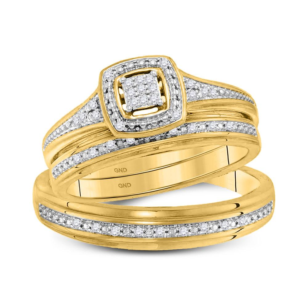 GND His & Hers Trio Wedding Ring Set 10kt Yellow Gold His Hers Round Diamond Cluster Matching Wedding Set 1/10 Cttw