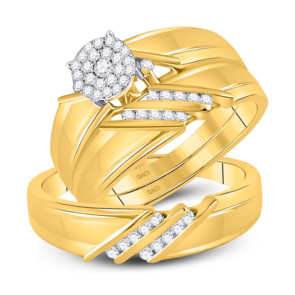 GND His & Hers Trio Wedding Ring Set 10kt Yellow Gold His Hers Round Diamond Cluster Matching Wedding Set 1/3 Cttw