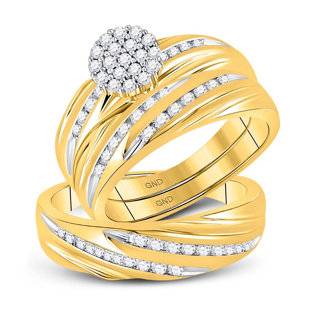 GND His & Hers Trio Wedding Ring Set 10kt Yellow Gold His Hers Round Diamond Cluster Matching Wedding Set 3/4 Cttw