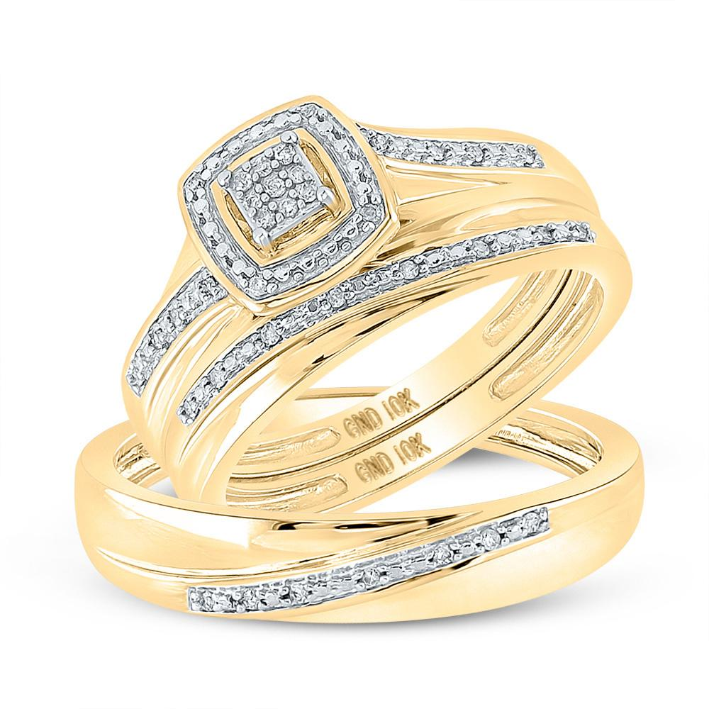 GND His & Hers Trio Wedding Ring Set 10kt Yellow Gold His Hers Round Diamond Square Matching Wedding Set 1/12 Cttw