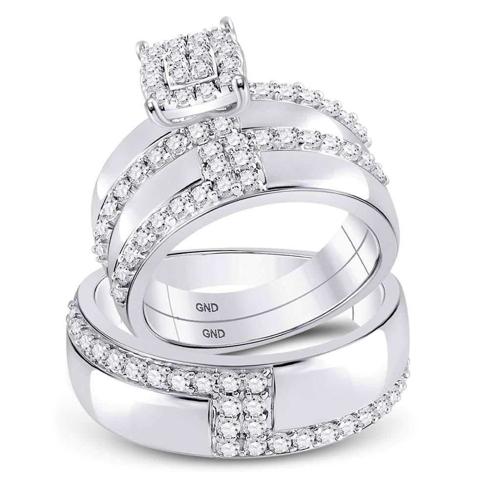 GND His & Hers Trio Wedding Ring Set 14kt White Gold His Hers Round Diamond Cluster Matching Wedding Set 1-1/2 Cttw