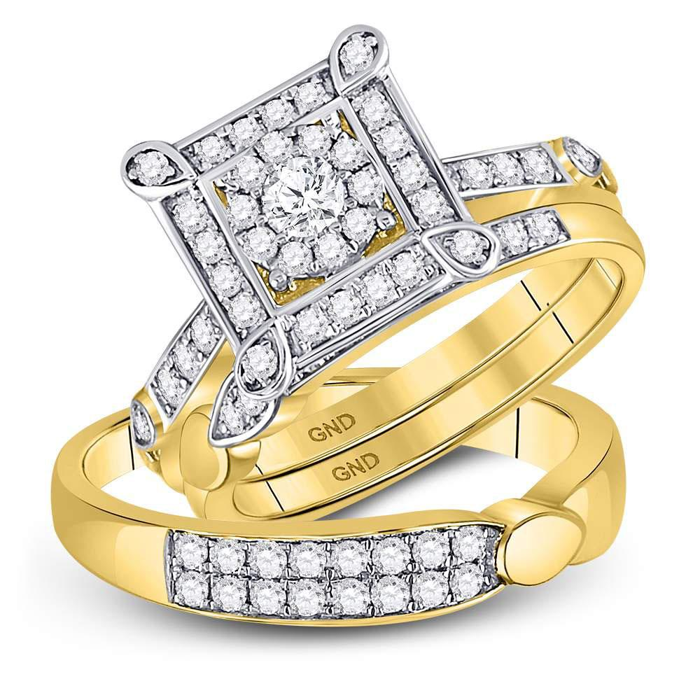 GND His & Hers Trio Wedding Ring Set 14kt Yellow Gold His Hers Round Diamond Solitaire Matching Wedding Set 1 Cttw