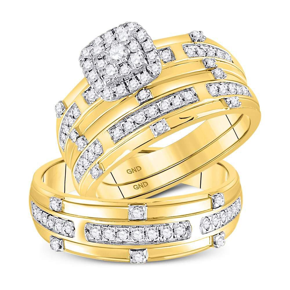 GND His & Hers Trio Wedding Ring Set 14kt Yellow Gold His Hers Round Diamond Solitaire Matching Wedding Set 3/4 Cttw