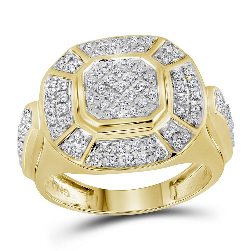 GND Men's Big Look Rings 10kt Yellow Gold Mens Round Diamond Circle Cluster Ring 1/2 Cttw