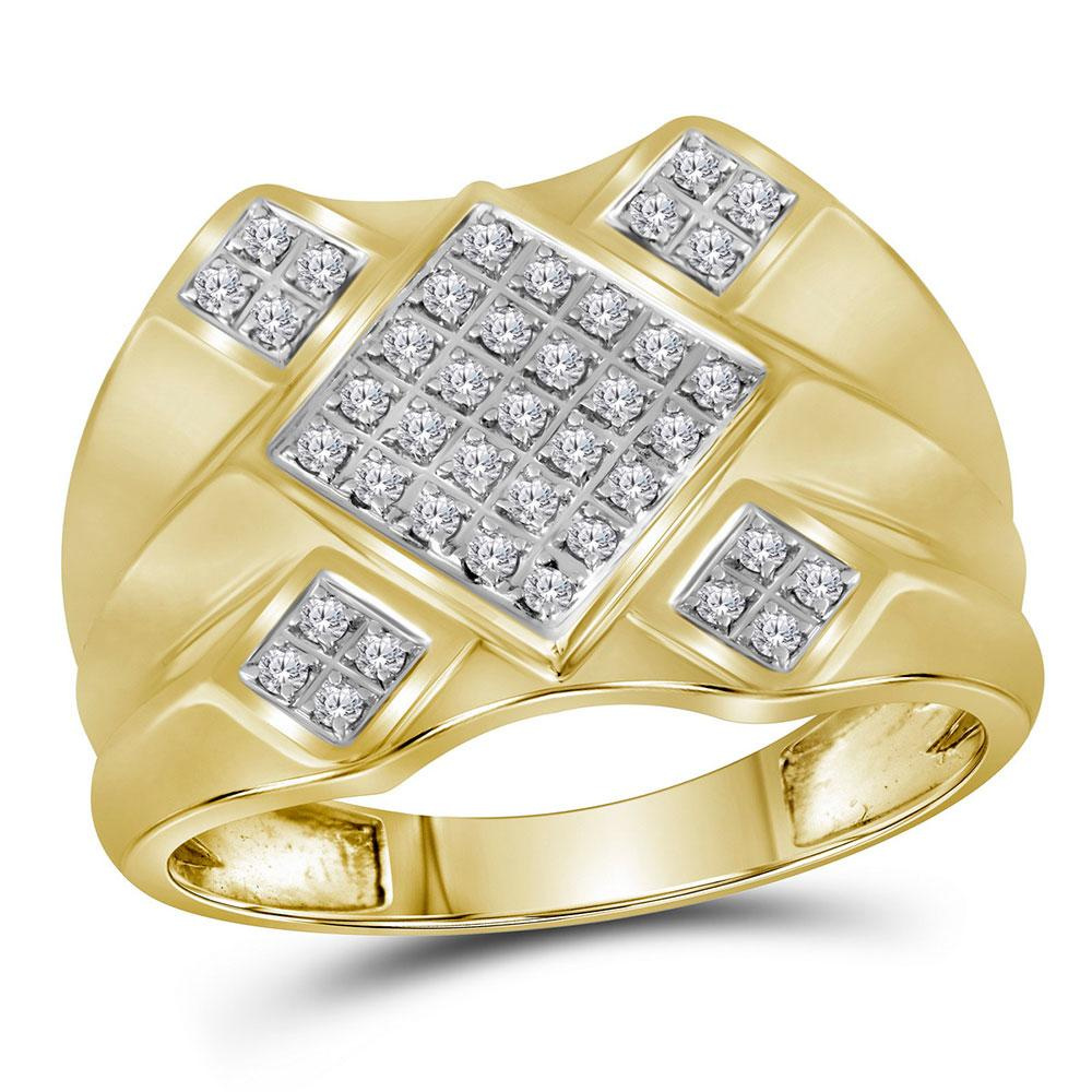 GND Men's Big Look Rings 10kt Yellow Gold Mens Round Diamond Diagonal Square Cluster Ring 1/3 Cttw