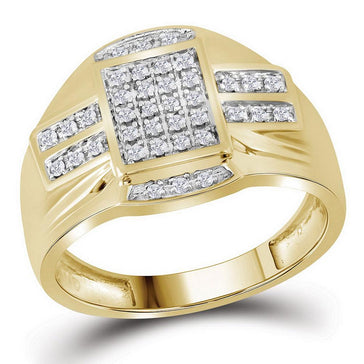 GND Men's Big Look Rings 10kt Yellow Gold Mens Round Diamond Rectangle Cluster Ring 1/4 Cttw