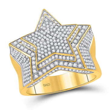 GND Men's Big Look Rings 10kt Yellow Gold Mens Round Diamond Statement Cluster Star Ring 1-3/4 Cttw