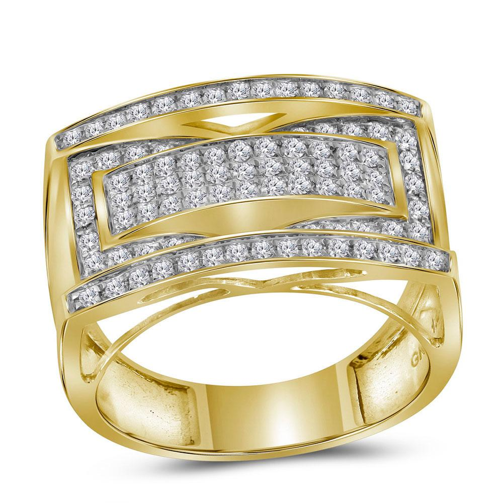 GND Men's Big Look Rings 10kt Yellow Gold Mens Round Pave-set Diamond Rectangle Cluster Ring 1 Cttw
