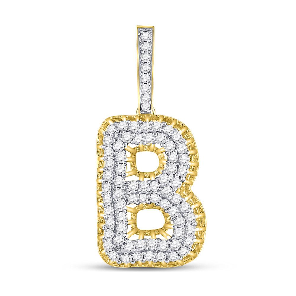 GND Men's Diamond Charm Pendant 10kt Yellow Gold Mens Round Diamond B Letter Charm Pendant 1-3/8 Cttw