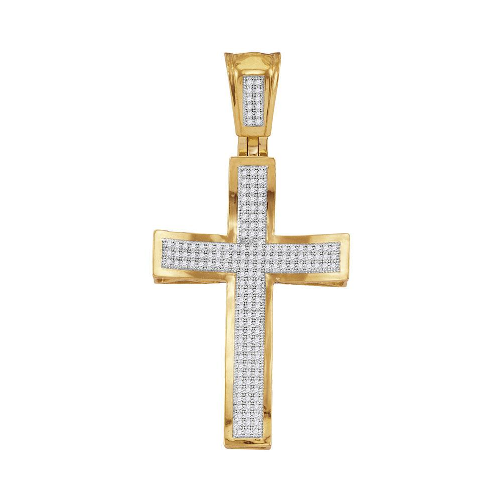 GND Men's Diamond Charm Pendant 10kt Yellow Gold Mens Round Diamond Concave Cross Charm Pendant 1/2 Cttw