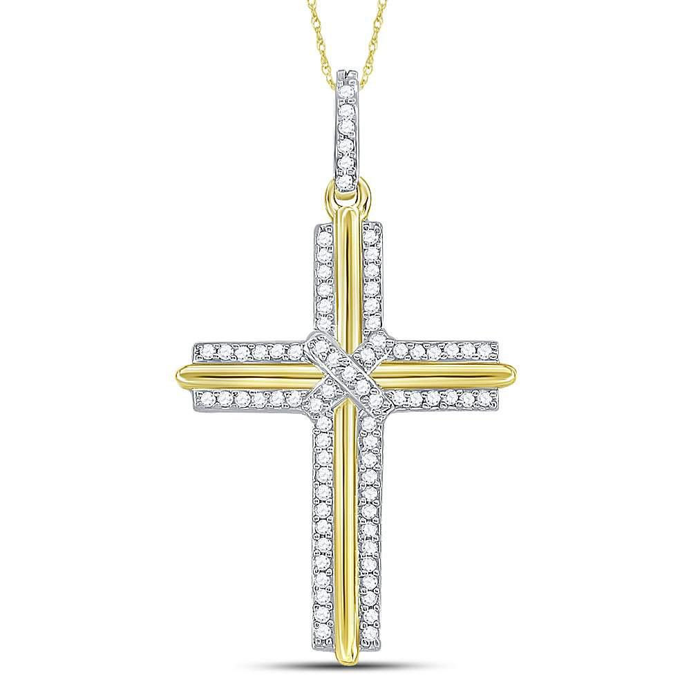 GND Men's Diamond Charm Pendant 10kt Yellow Gold Mens Round Diamond Cross Charm Pendant 1/5 Cttw