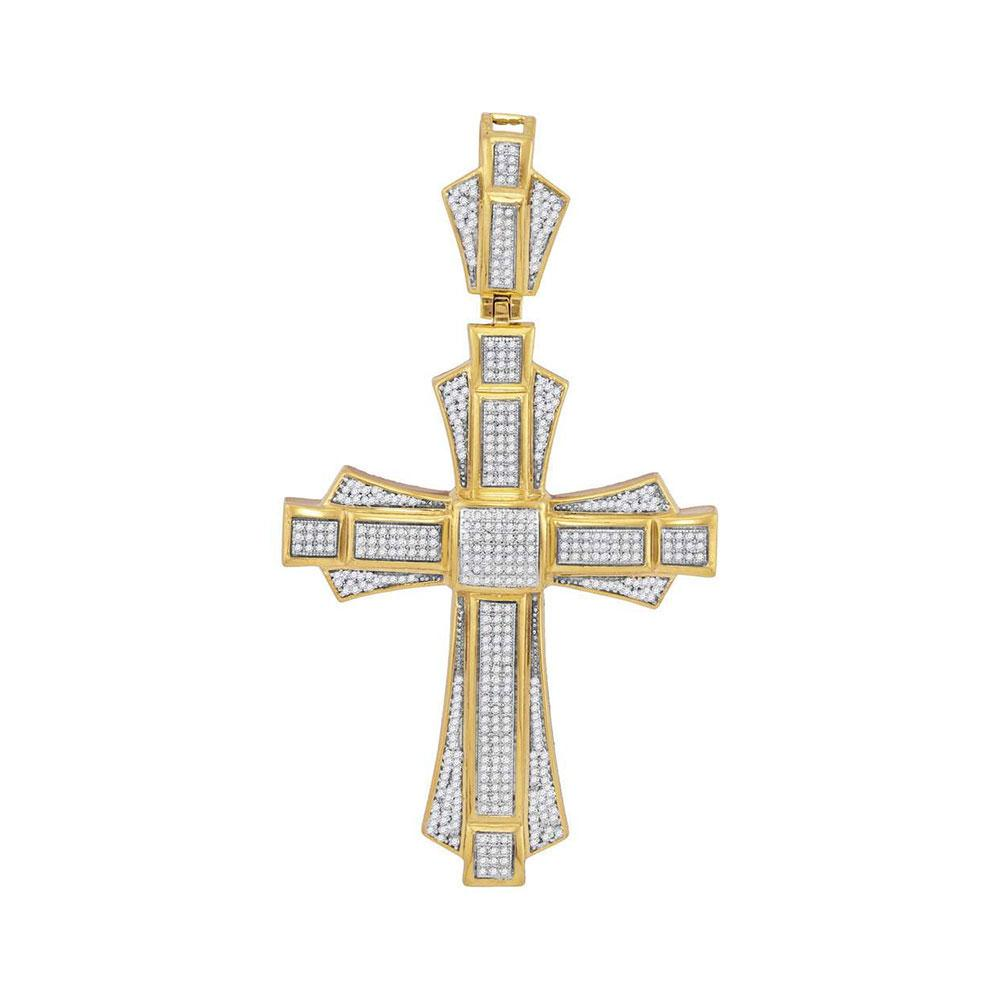 GND Men's Diamond Charm Pendant 10kt Yellow Gold Mens Round Diamond Cross Saint John Charm Pendant 1 Cttw