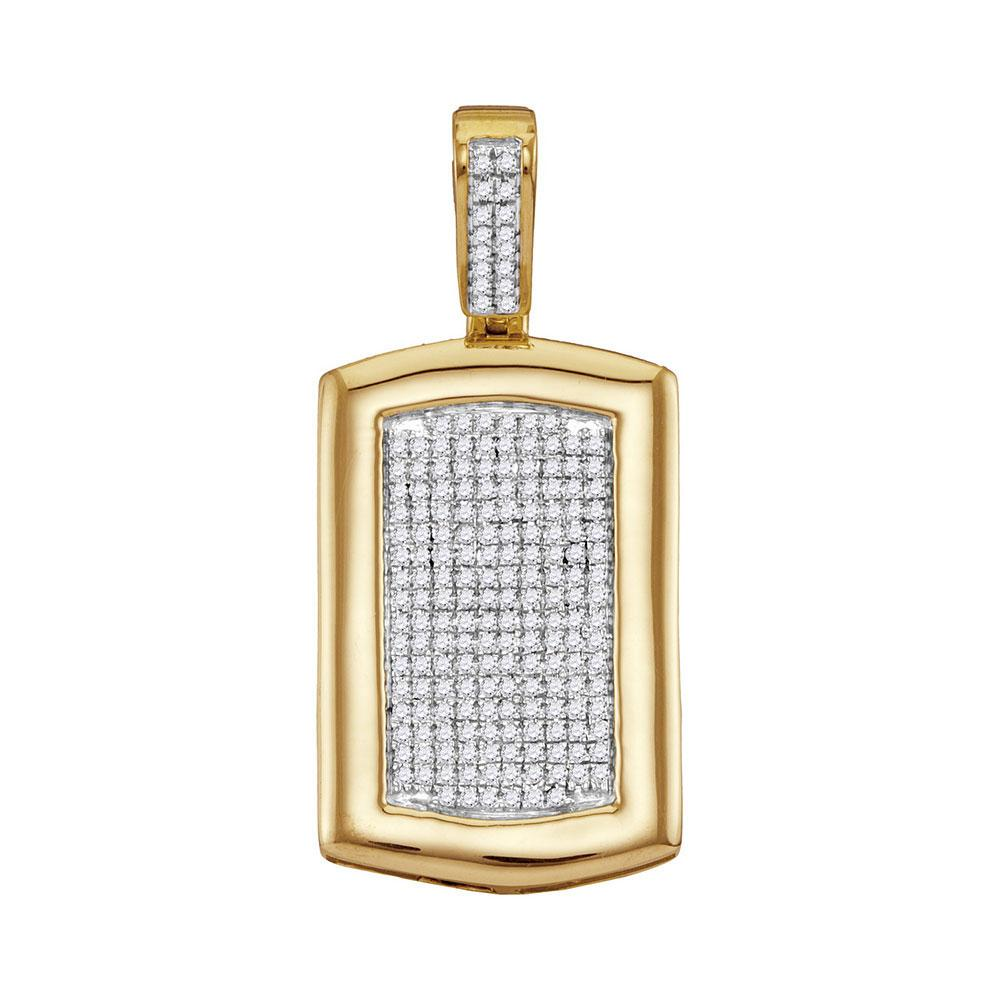 GND Men's Diamond Charm Pendant 10kt Yellow Gold Mens Round Diamond Dog Tag Cluster Charm Pendant 1/2 Cttw