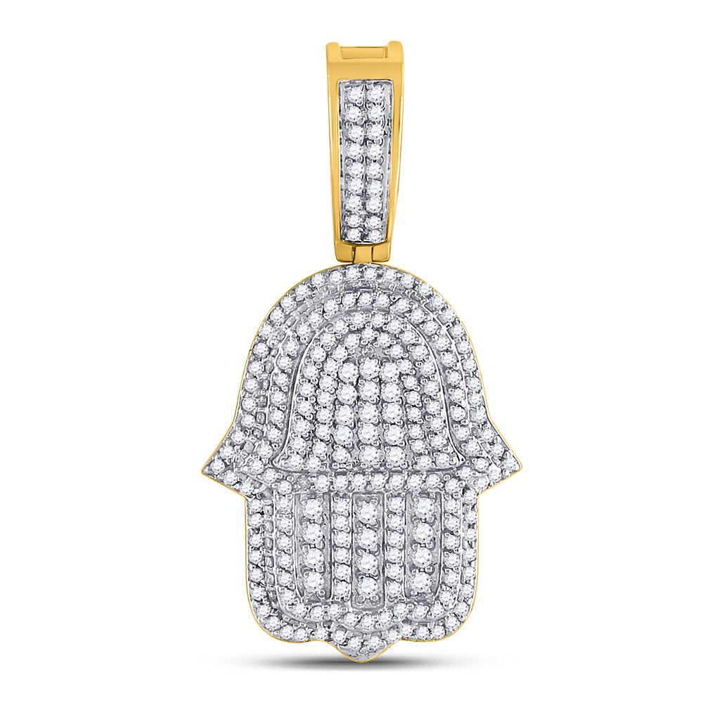 GND Men's Diamond Charm Pendant 10kt Yellow Gold Mens Round Diamond Hamsa Fatima Hand Charm Pendant 1-7/8 Cttw