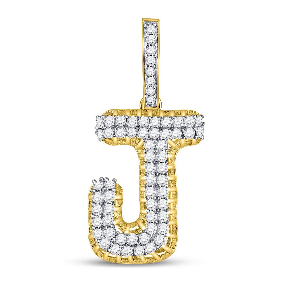 GND Men's Diamond Charm Pendant 10kt Yellow Gold Mens Round Diamond J Letter Charm Pendant 1-1/4 Cttw