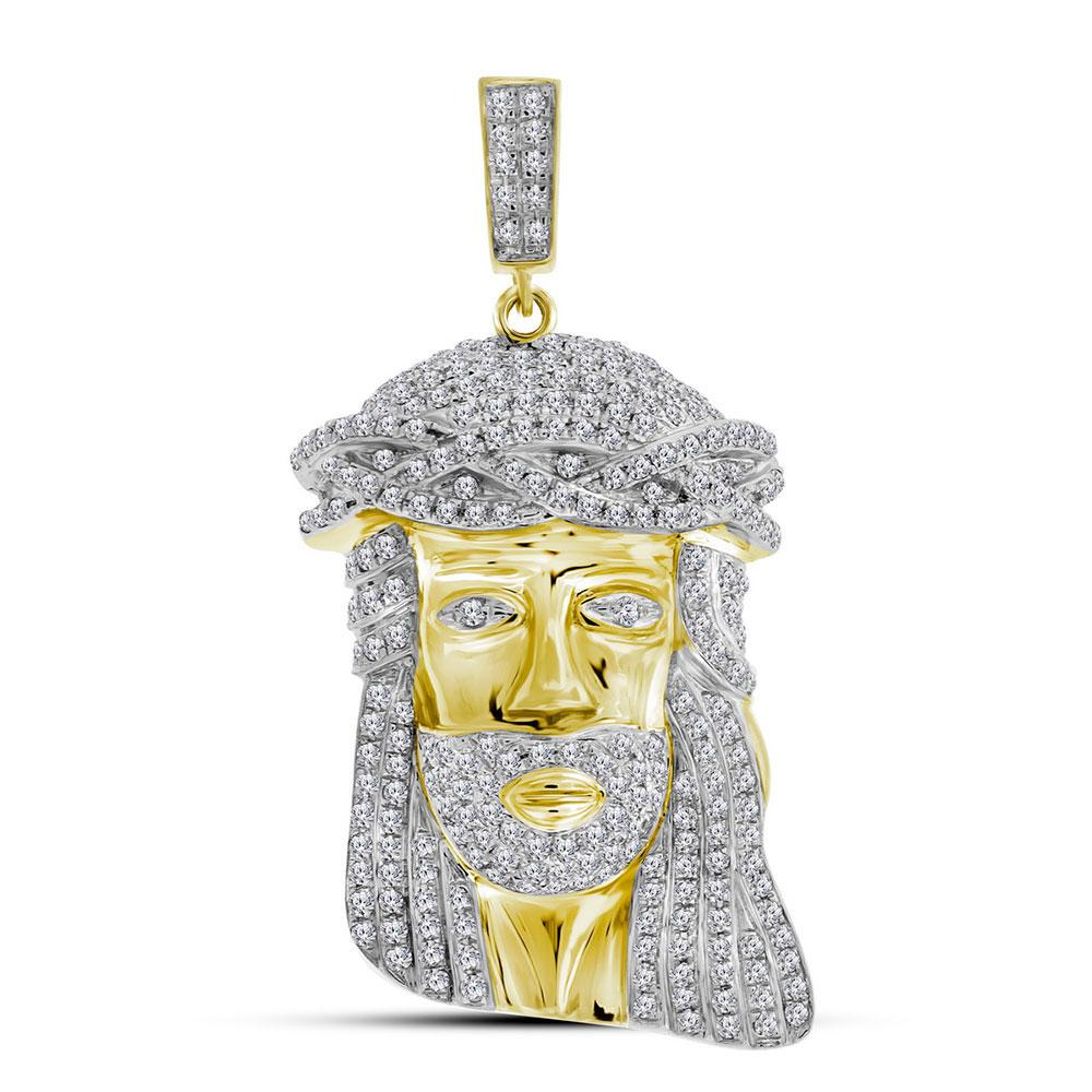 GND Men's Diamond Charm Pendant 10kt Yellow Gold Mens Round Diamond Jesus Face Charm Pendant 1-1/4 Cttw