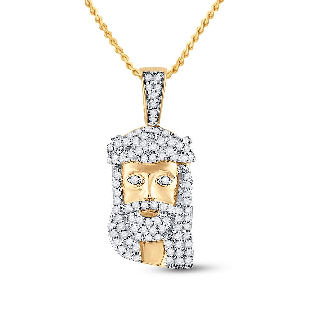 GND Men's Diamond Charm Pendant 10kt Yellow Gold Mens Round Diamond Jesus Face Charm Pendant 1/3 Cttw