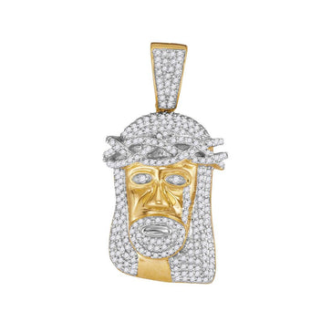 GND Men's Diamond Charm Pendant 10kt Yellow Gold Mens Round Diamond Jesus Face Charm Pendant 3/4 Cttw