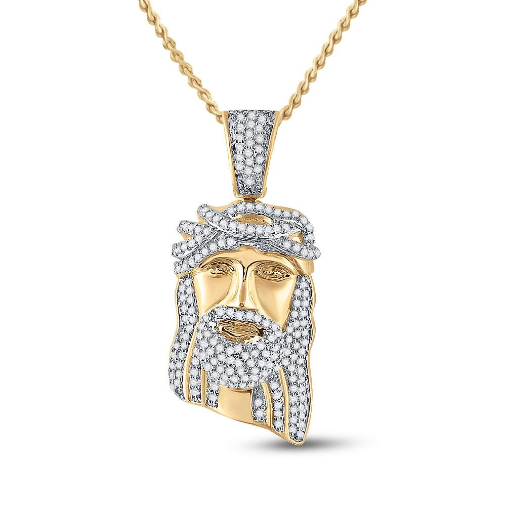 GND Men's Diamond Charm Pendant 10kt Yellow Gold Mens Round Diamond Jesus Face Charm Pendant 3/8 Cttw