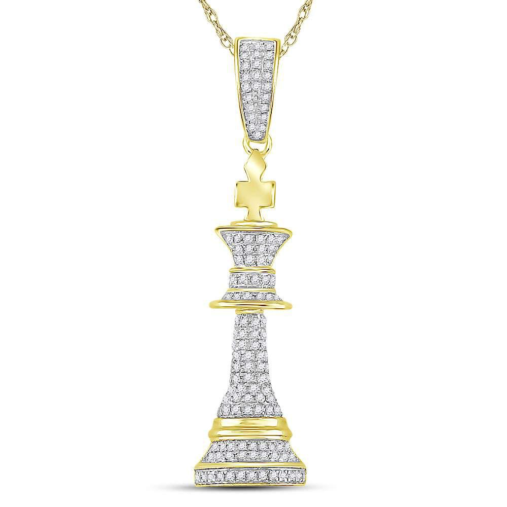 GND Men's Diamond Charm Pendant 10kt Yellow Gold Mens Round Diamond King Chess Piece Charm Pendant 3/8 Cttw