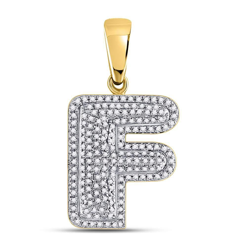 GND Men's Diamond Charm Pendant 10kt Yellow Gold Mens Round Diamond Letter F Bubble Initial Charm Pendant 1/2 Cttw