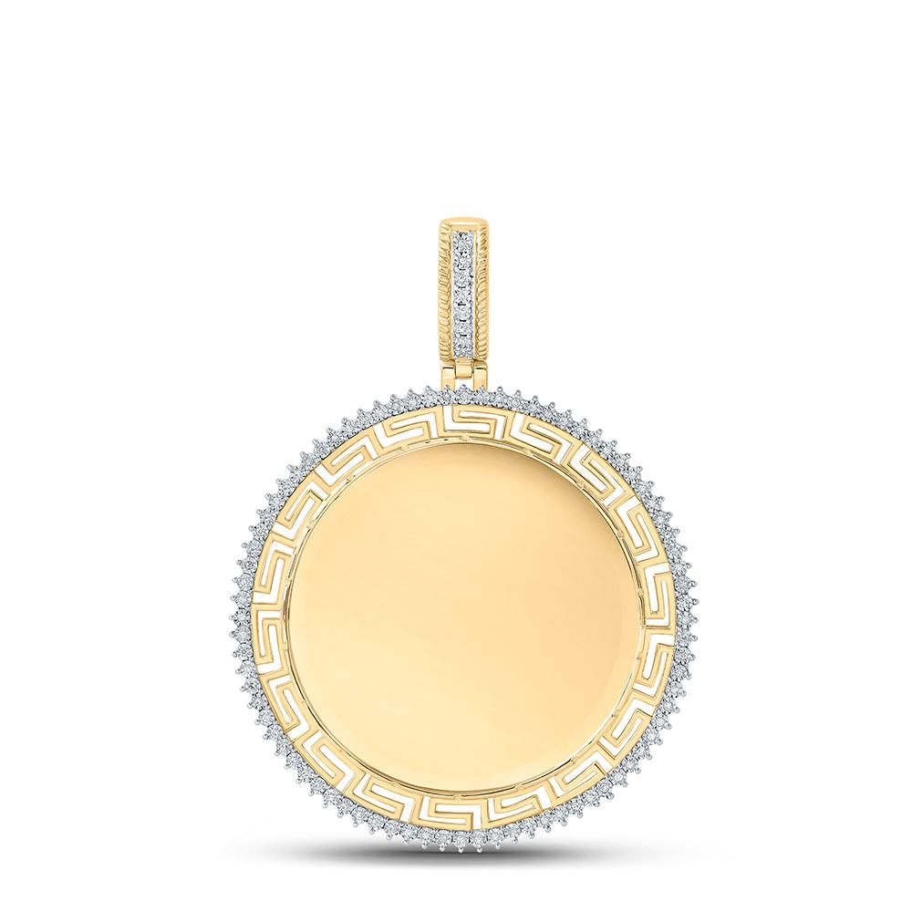 GND Men's Diamond Charm Pendant 10kt Yellow Gold Mens Round Diamond Memory Circle Charm Pendant 1/4 Cttw