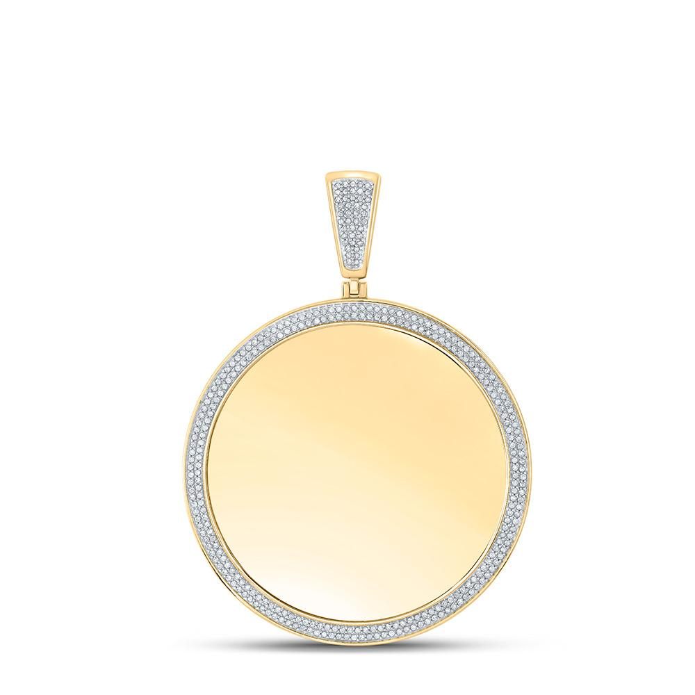 GND Men's Diamond Charm Pendant 10kt Yellow Gold Mens Round Diamond Memory Circle Charm Pendant 1 Cttw