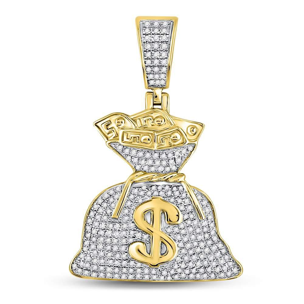 GND Men's Diamond Charm Pendant 10kt Yellow Gold Mens Round Diamond Money Bag Dollar Charm Pendant 1/2 Cttw