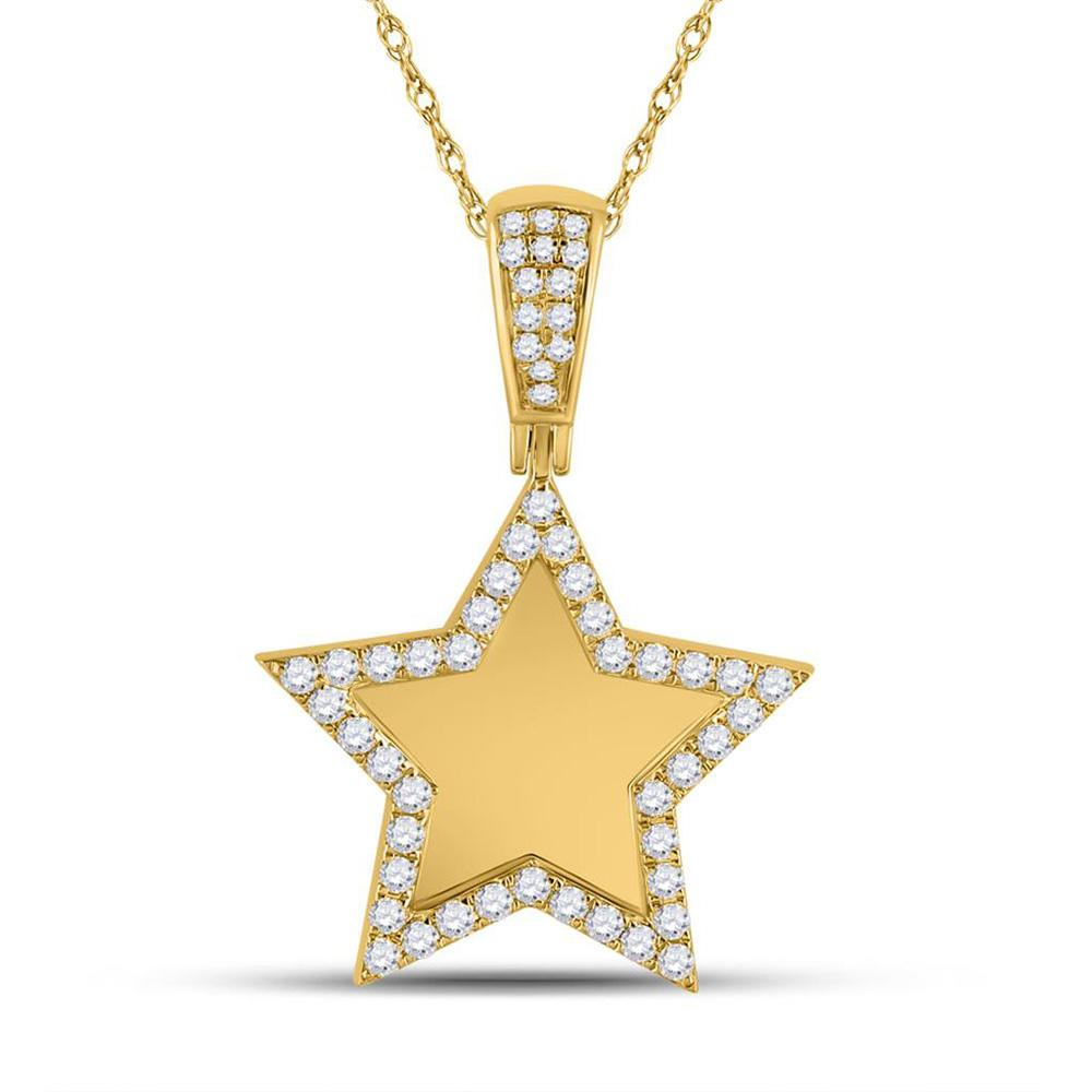 GND Men's Diamond Charm Pendant 10kt Yellow Gold Mens Round Diamond Picture Memory Star Charm Pendant 7/8 Cttw