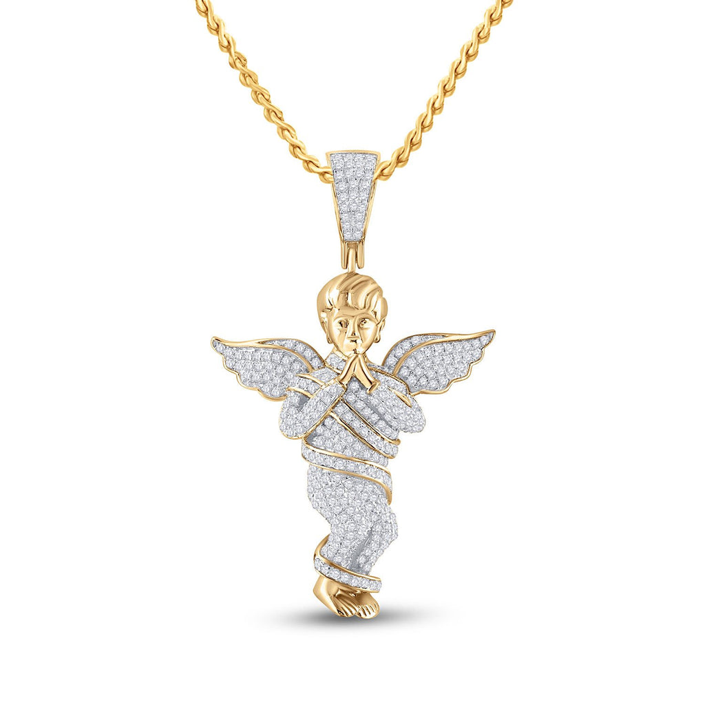 GND Men's Diamond Charm Pendant 10kt Yellow Gold Mens Round Diamond Praying Angel Wings Charm Pendant 7/8 Cttw