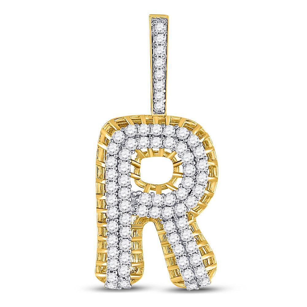 GND Men's Diamond Charm Pendant 10kt Yellow Gold Mens Round Diamond R Letter Charm Pendant 1-3/8 Cttw