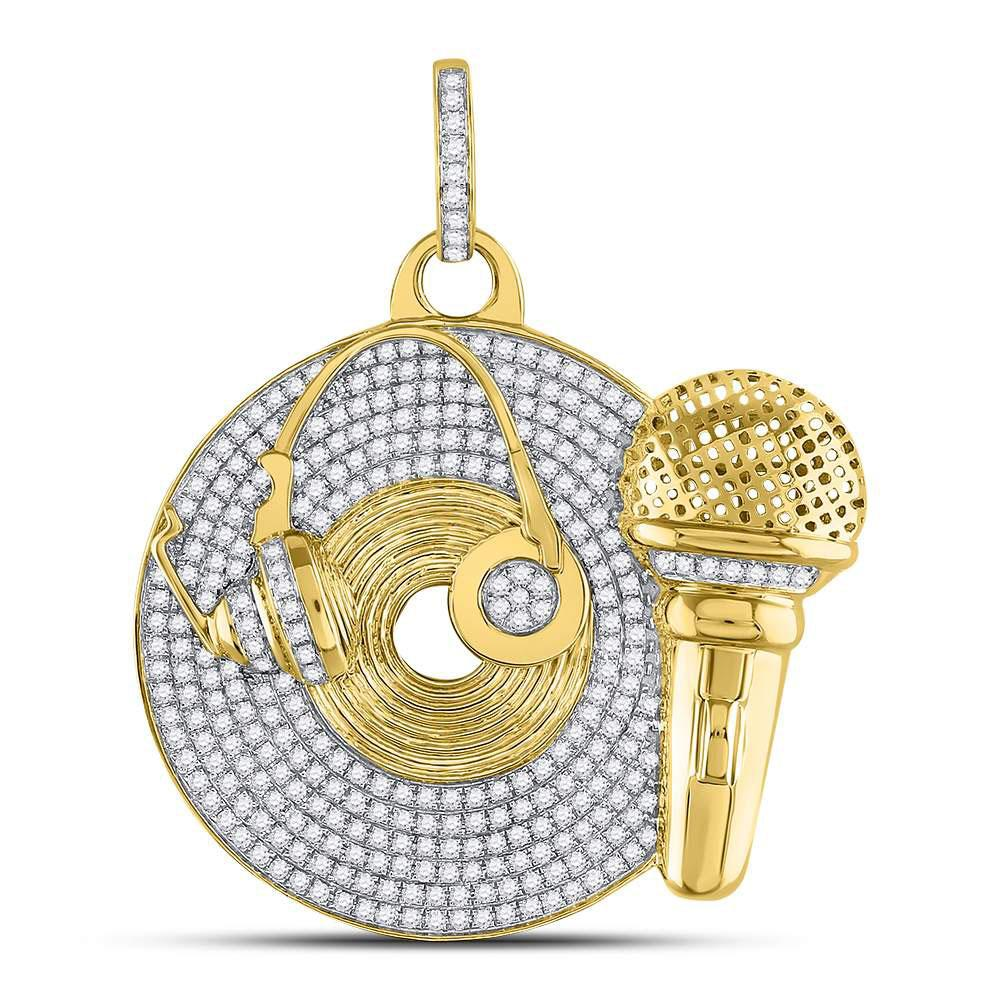 GND Men's Diamond Charm Pendant 10kt Yellow Gold Mens Round Diamond Recording Artist Mic Record Charm Pendant 3 Cttw