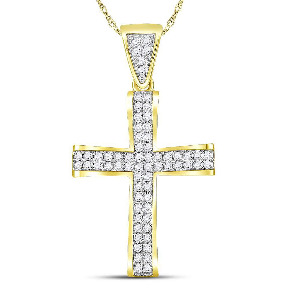 GND Men's Diamond Charm Pendant 10kt Yellow Gold Mens Round Diamond Roman Cross Charm Pendant 1 Cttw