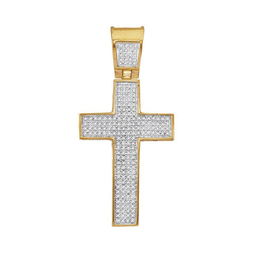 GND Men's Diamond Charm Pendant 10kt Yellow Gold Mens Round Diamond Symmetrical Cross Charm Pendant 1/2 Cttw