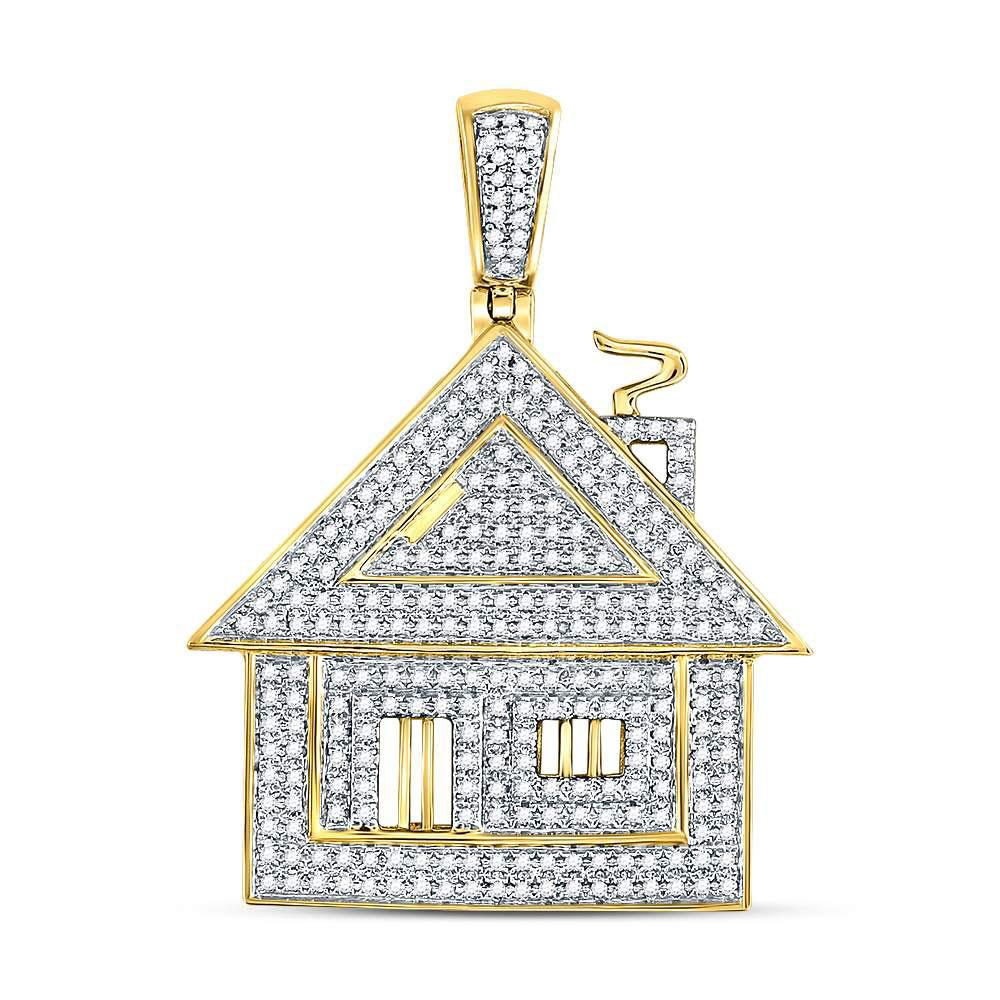 GND Men's Diamond Charm Pendant 10kt Yellow Gold Mens Round Diamond Trap House Charm Pendant 3/4 Cttw