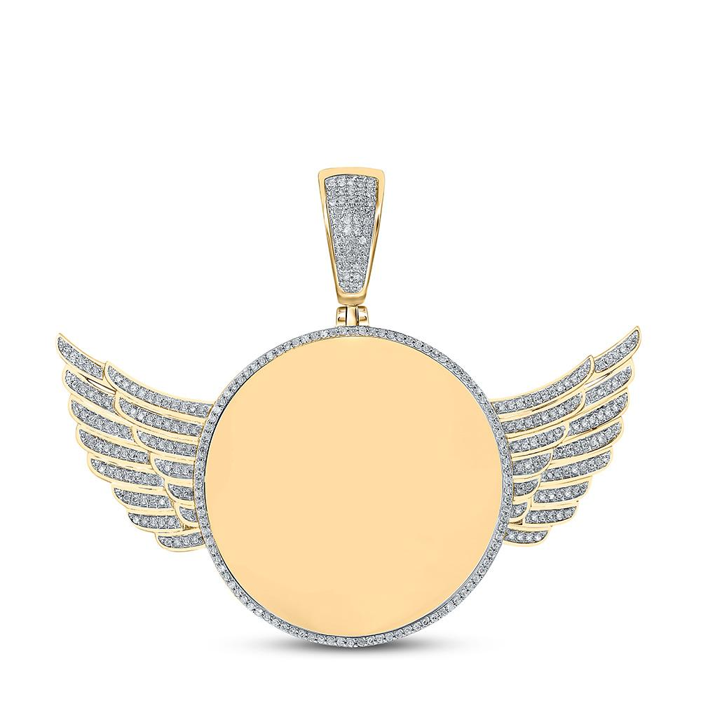 GND Men's Diamond Charm Pendant 10kt Yellow Gold Mens Round Diamond Wing Memory Circle Charm Pendant 3/4 Cttw