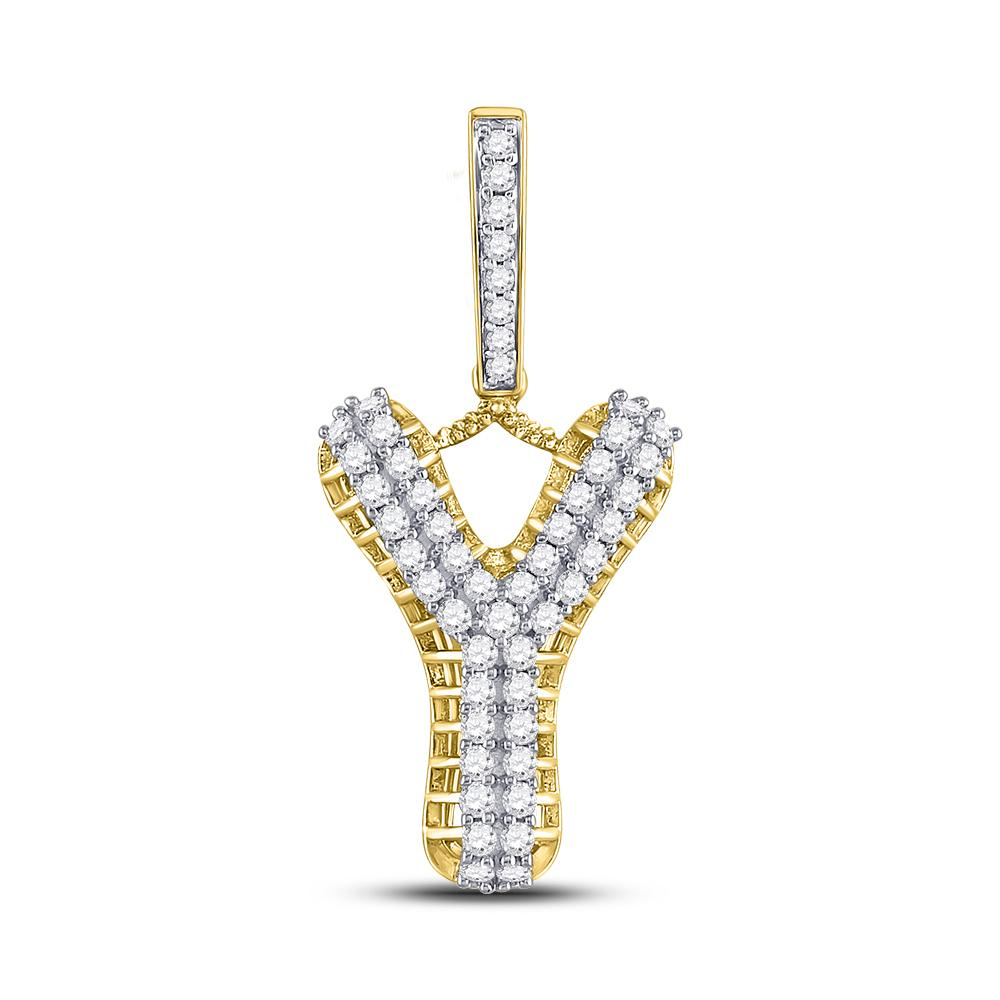 GND Men's Diamond Charm Pendant 10kt Yellow Gold Mens Round Diamond Y Letter Charm Pendant 1 Cttw